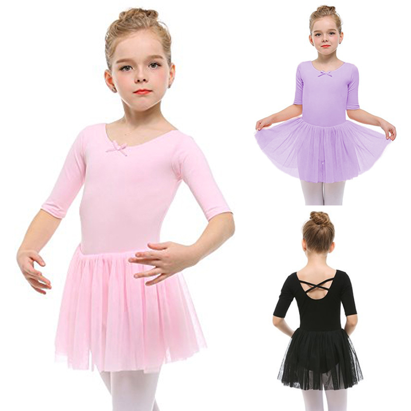 2019 Kids Short Sleeve Fancy Party Tulle Ballet Dance Dress Gymnastics Leotard Girls Ballerina Tutu Dresses For Performance
