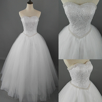 ZJ9069 2017 White Ivory Lace Strapless Wedding dresses Corset Bridal Ball Pearl Beads Tulle Wedding Gowns size 2-28W