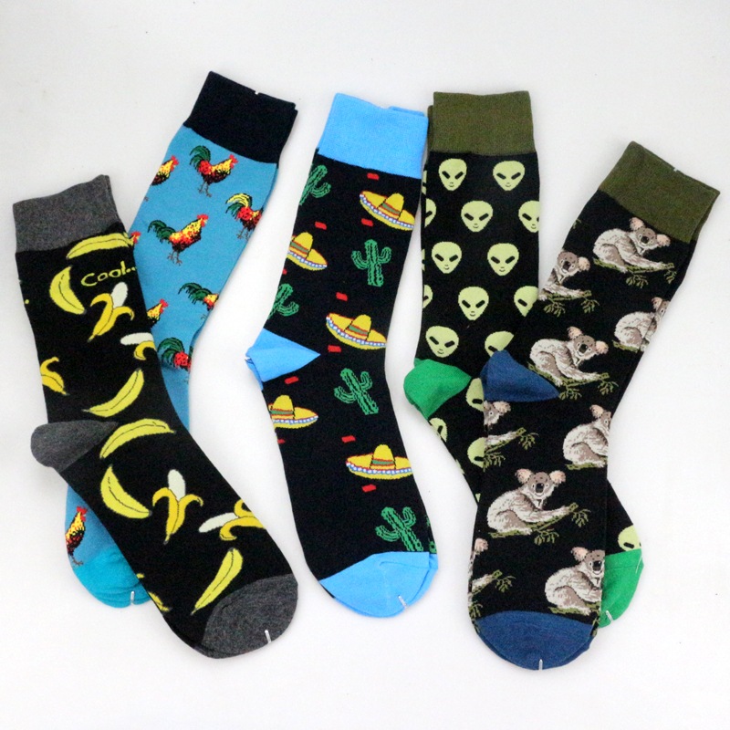 Funny Happy Plant Socks Cotton Animal Socks 2018 Alien Monkey Chicken Banana Cactus Whale Dinosaur Koala Men Women Couples Socks