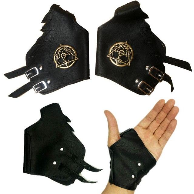 Top anime Full Metal Alchemist logo punk negro cuero guante Cosplay ...