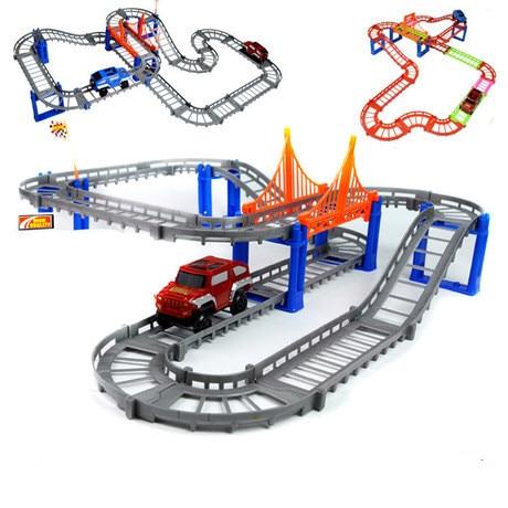 1 st race spår bil leksak DIY flerspårig järnvägsbana spår byggnadsblock pedagogiska leksaker för barn 3-6 år