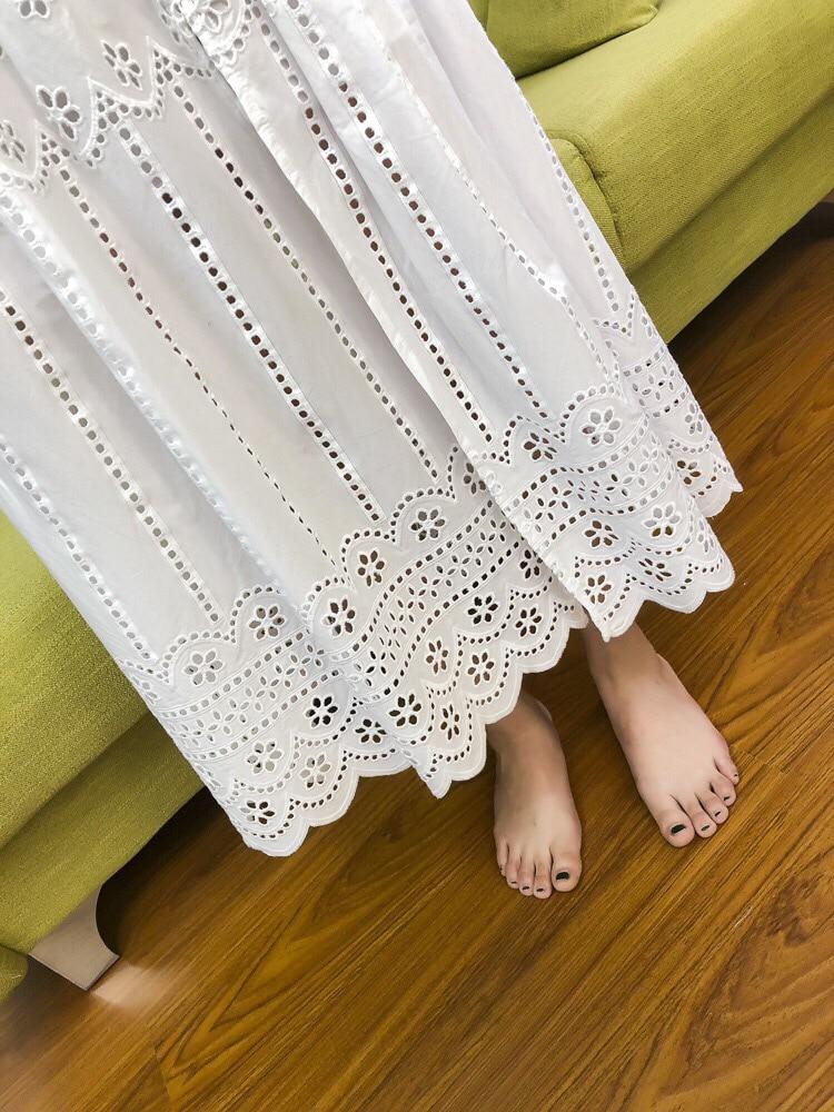 Pur Longue Femmes De Nouvelle Mode Jupe Dame D'été Broderie Blanc Évider Coton 2018 gxnqw7BvEw