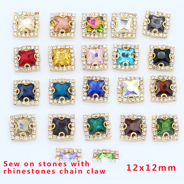 20p 12mm color square sew on jewels faceted crystal glass flatback rhinestones  gold base trim beads wedding Dress Decoration Gem 2924509de71f