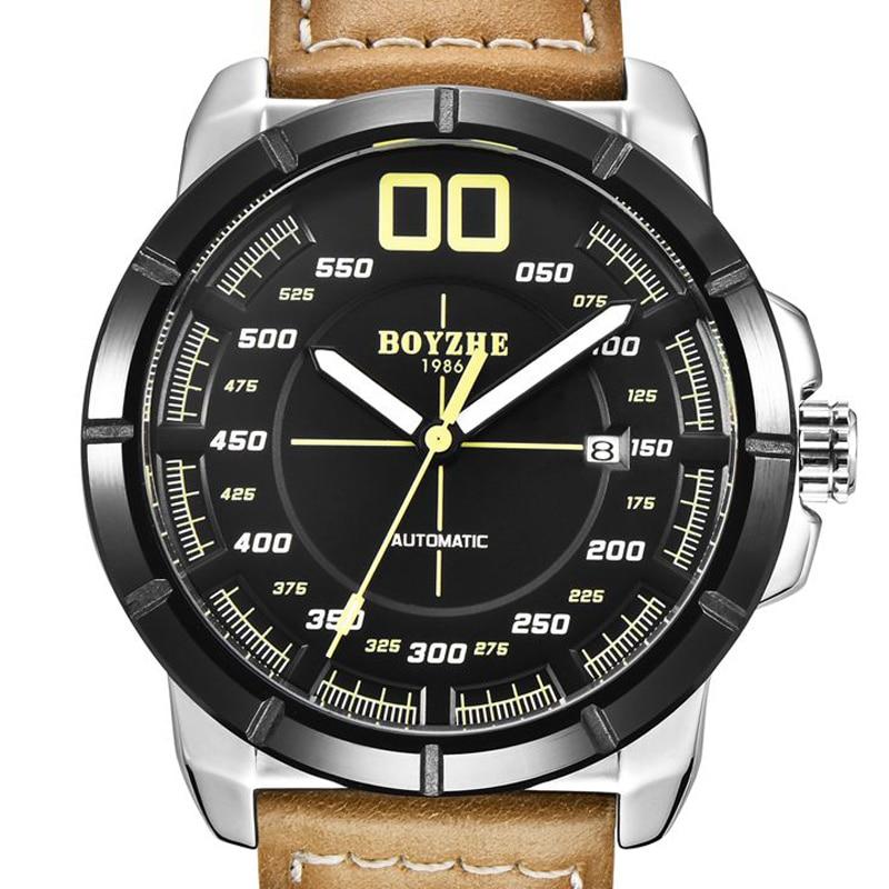 BOYZHE Men Mechanical Watch Automatic Tourbillon Montre Homme Luxury Brand Watches Mens Luminous Sports Leather Reloj