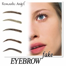 100% Human Hair False Eyebrow Hand Made Aritfical Fake Woman Eyebrow with PU Injected 1 Pair/lot Romantic Angel Free Shipping
