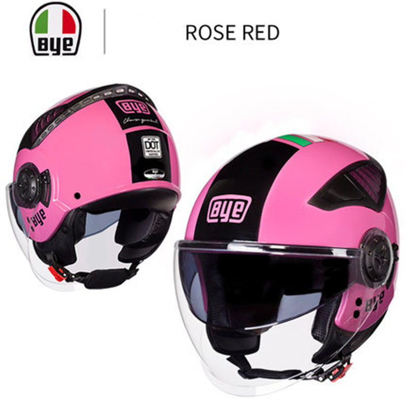 New pink Double Lens Motorcycle Helmets Half Face ABS Motorbike Helmet Electric Safety Helmet For Women/Men Moto CasqueNew pink Double Lens Motorcycle Helmets Half Face ABS Motorbike Helmet Electric Safety Helmet For Women/Men Moto Casque