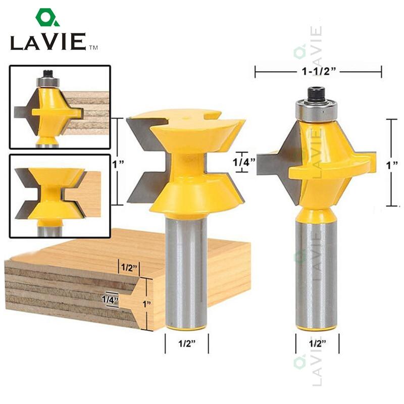 LA VIE 2Pcs 1/2 Shank Router Bit Set 120 Degree Woodworking Groove Chisel Cutter Tool Convex Mill MC03029 2pcs 1 2 shank router bit set 120 degree