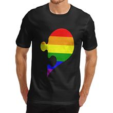 Short Sleeve Cool Casual Men Cotton Novelty Cute Design Rainbow Puzzle Gay Heart 2017 New T Shirts