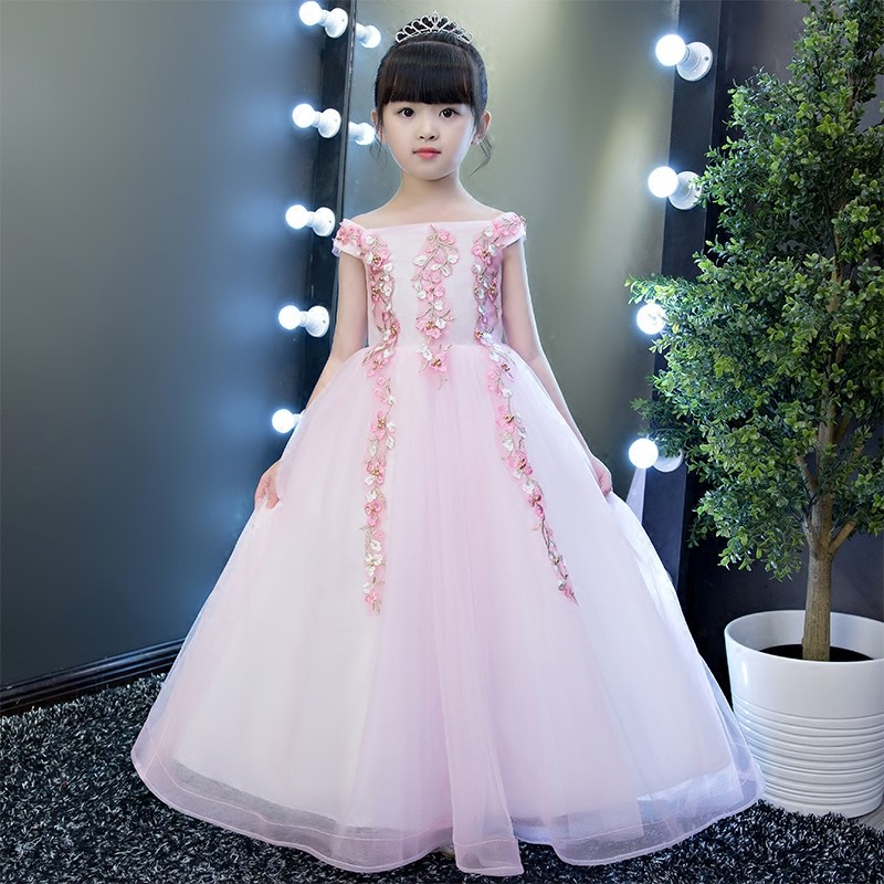 Elegant Girls Shoulderless Pink Tulle Appliques Wedding