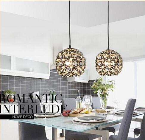 Indoor Pendant lamps wrought iron spherical petal crystal droplight contracted single head pendant lamp E27 110V -220V eiceo crystal droplight contemporary contracted sitting room lamp atmosphere bedroom lanterns wrought iron led pendant light