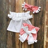 Лето 2019, Одежда для новорожденных девочек, бальное платье принцессы + шорты с бантом + повязка на голову, комплект одежды для маленьких девоч...