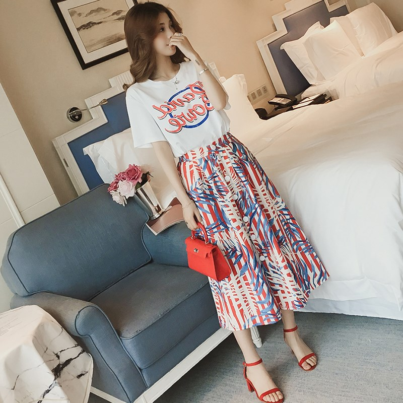 Two Piece Set Women Spring Wear Sets Casual 2 Piece Set Women 2019 Slim T Shirt Mid-Calf Skirt
