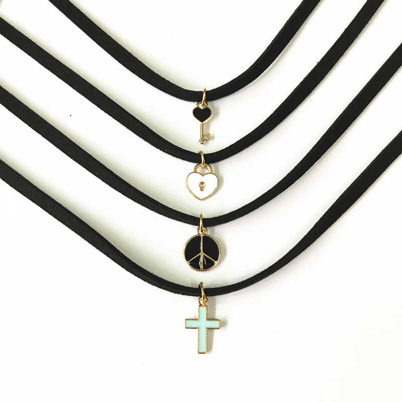 Дамская Подвеска ручной работы с замком «мир любви», суффикс, ожерелье с коротким рукавом, Готическая серия, крестообразные часы, ключ, вельветовый воротник, ожерелье