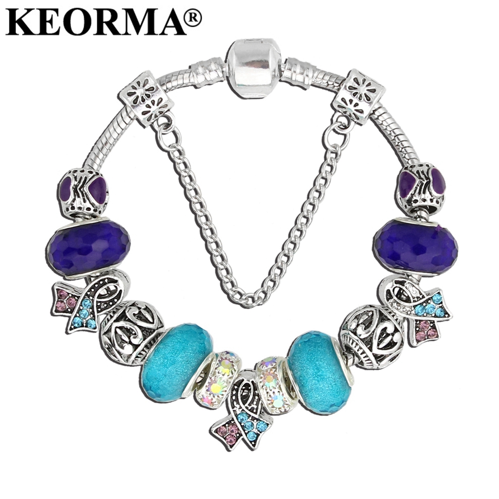 KEORMA Vetëdija e re për vetëvrasje Charm byzylyk Purple & Blue Ribbon Crystal Beads byzylykë & Bangles For Women Jewelry Fashion Gif