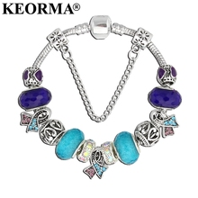 KEORMA New suicide awareness Charm Bracelet Purple & Blue Ribbon Crystal Beads Bracelets & Bangles For Women Jewelry Fashion Gif