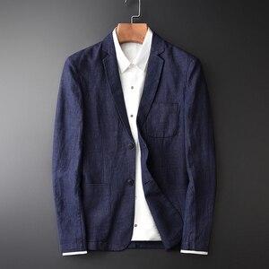 Image 1 - Nouveauté lin jeunes hommes mode décontracté automne porter mince marée marque décontracté Super grand haute qualité unique costume taille M 3XL 4XL