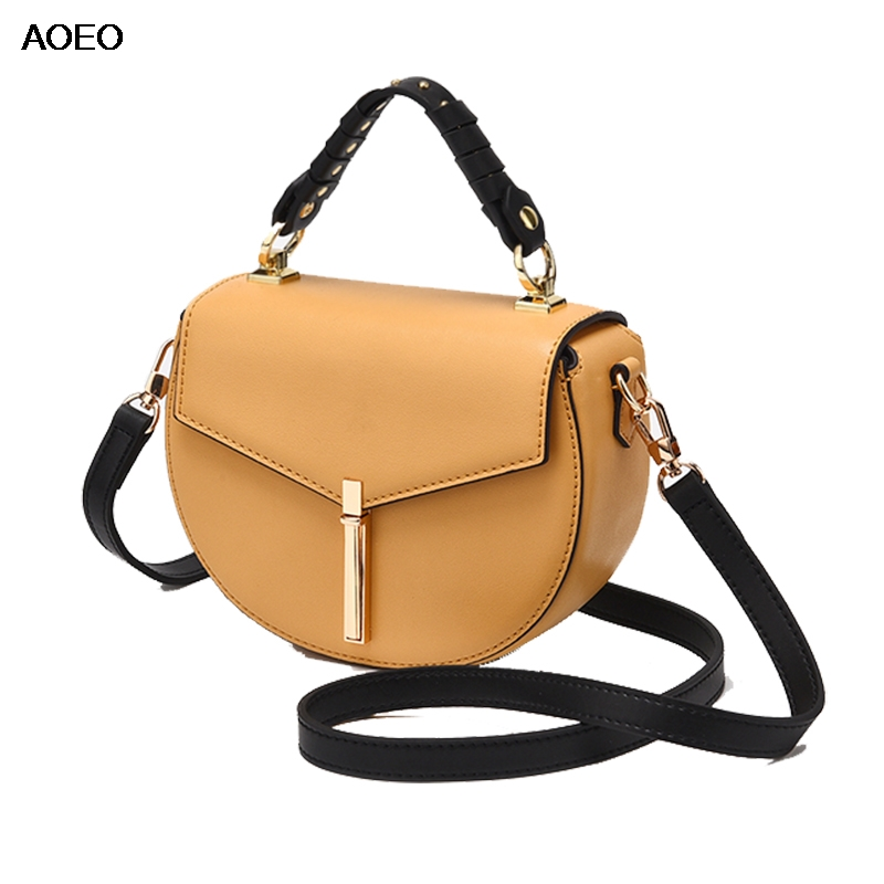 AOEO Women Handbags Top handle Shoulder Bags Saddle Split Leather Fashion Girl Small Cross Body Bags