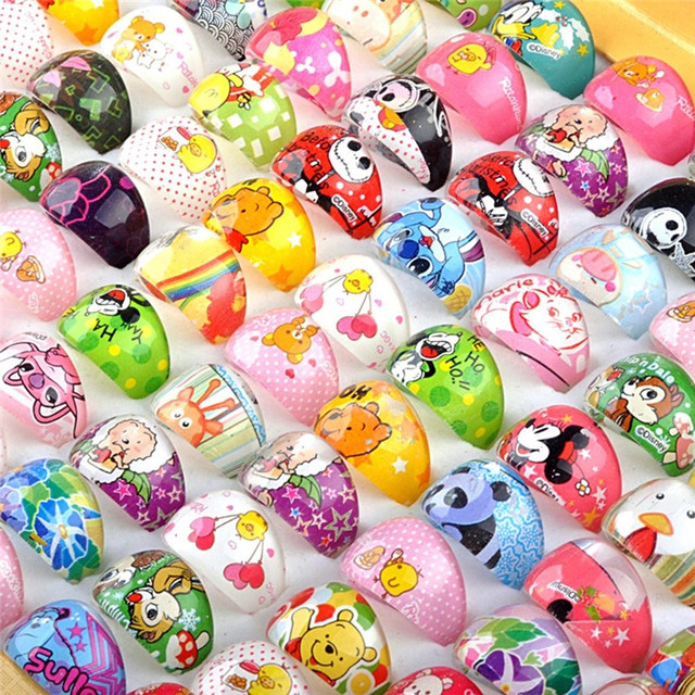 aa6da0c0b Wholesale 10pcs/Pack Lovely Cartoon Kids Resin Rings Send Randomly Children  Kids Girls Patrol Rings Event Birthday Supplies