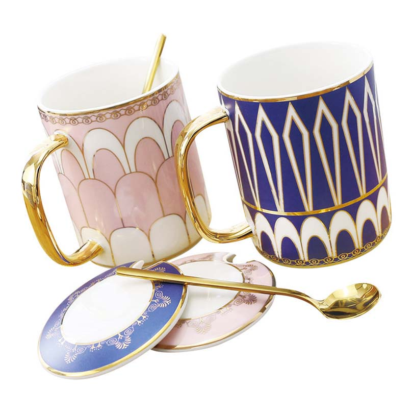 350 ml European Ceramic Mugs Retro Coffee Ceramic Cup Milk Tea Drinkware Travel Mug Birthday Valentine's Day Gifts Custom LOGO