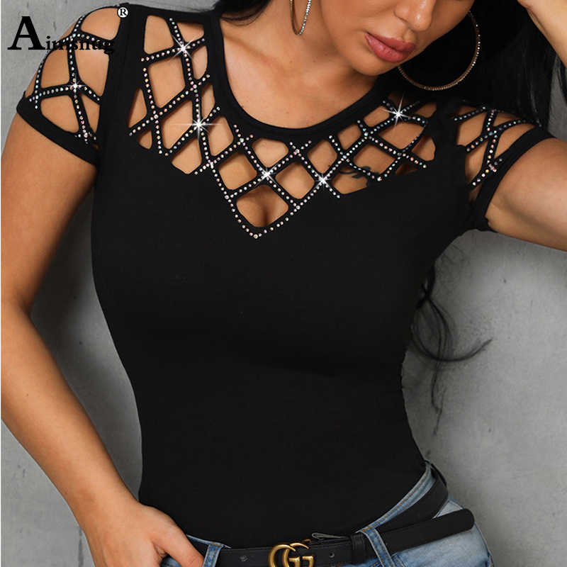 Women Sexy Short Sleeve Pearl Beading Tshirt Summer Autumn Female Casual O-Neck T-Shirt Ladies Hollow Out Tee Shirt