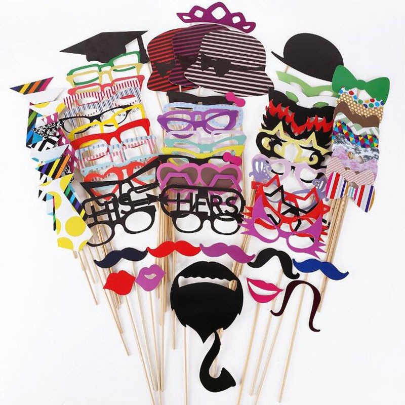 Funny Photo Props 76 stk Bryllup Dekor Foto Booth Prop On Stick Ny Party Decoration Christmas Mustache Birthday Party