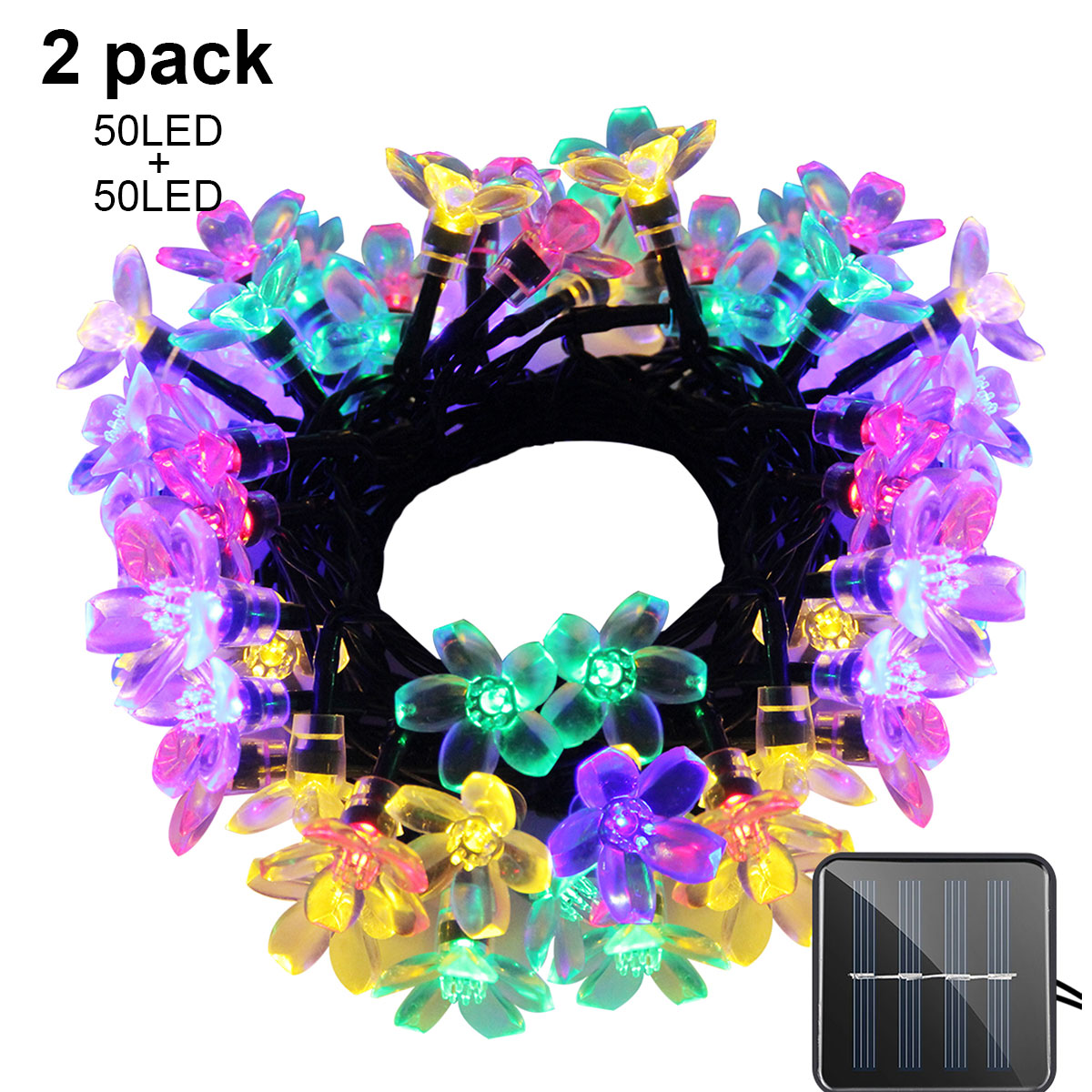 Solar String Lights 21ft 50 LED Fairy Flower Blossom Decorative Light Indoor Garden Patio Party Xmas Tree Decorations 2-PACK