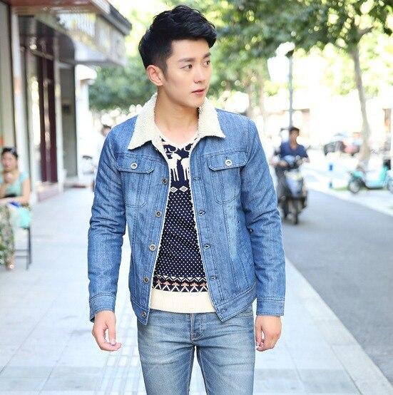 Light Blue Fur Collar Mens Denim Jacket Long Sleeve Casual Thick