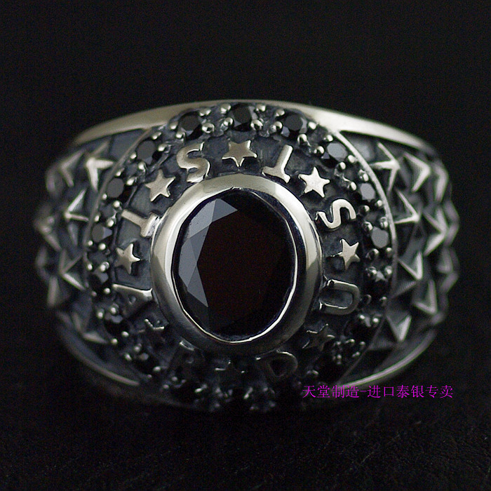 Thailand imports 925 sterling silver, antique male ring - the stars in the sky thailand imports skull blood new skeleton silver ring