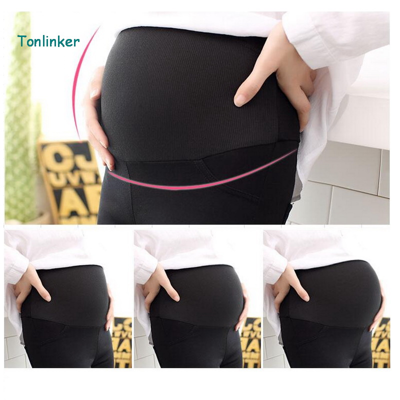 Tonlinker Maternity High waist leggings pregnancy clothes Skinny   Pants     Capris   for pregnant women black maternity clothing