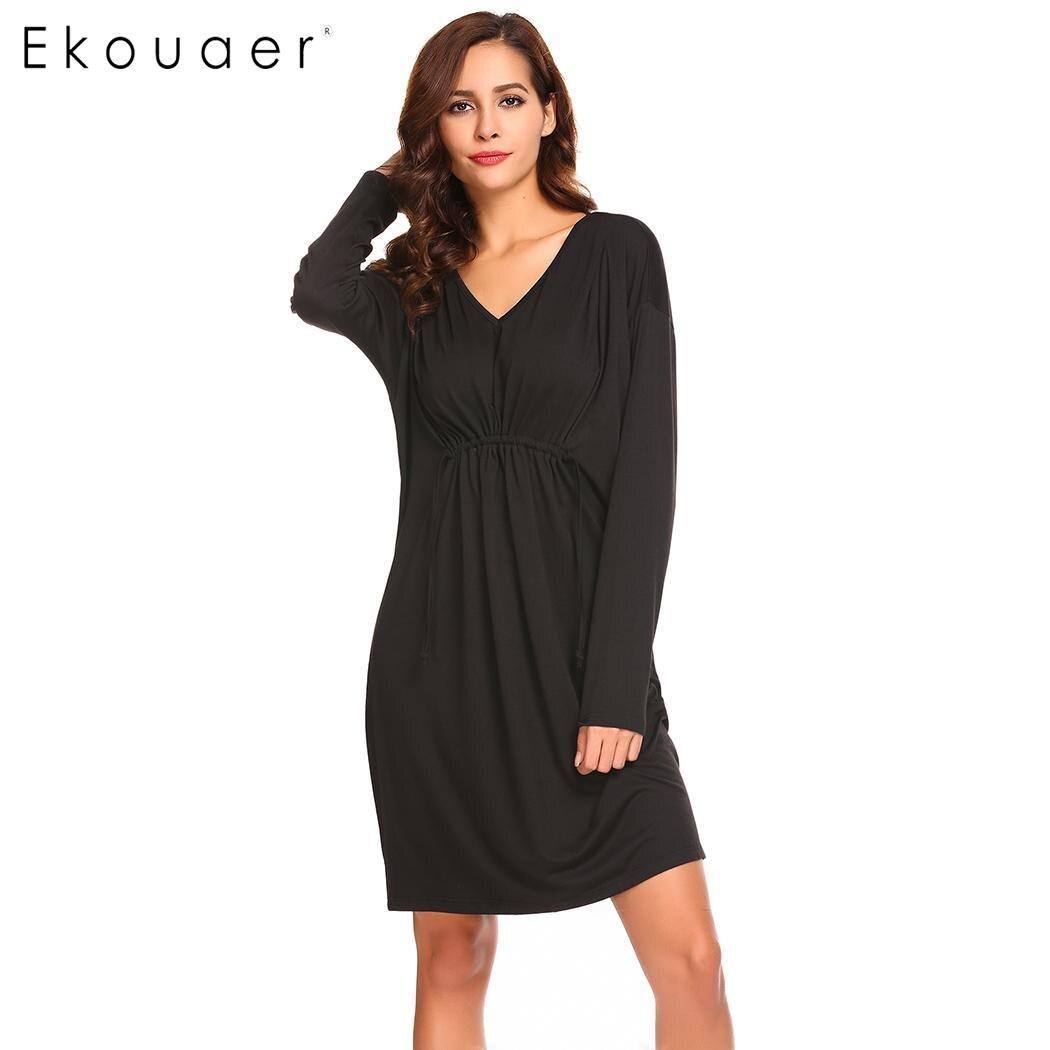 Ekouaer Night Dress Women Sleepwear V Neck Ruched Long Sleeve Solid Drawstring Waist Nightgown Sleepshirts Female Homewear Dress