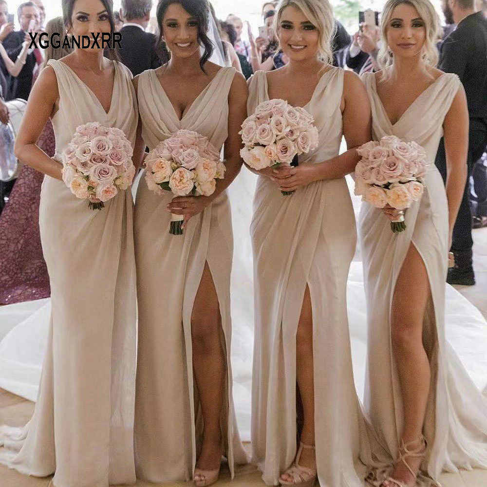 e427253053 Detail Feedback Questions about B615 Hot Sale Sexy Pink Mermaid Bridesmaid  Dress 2018 V Neck Pleats Side Slit Long Prom Dress for Wedding Party Bride  side ...