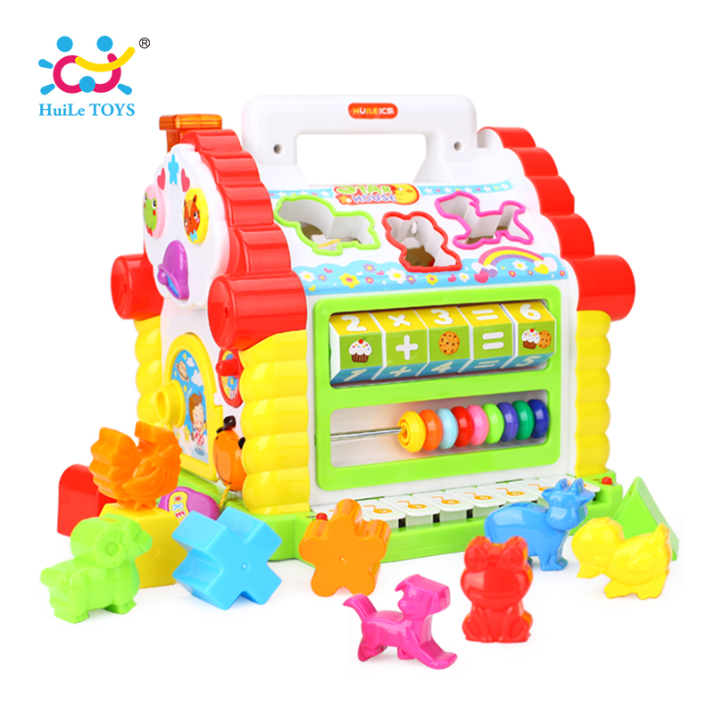 HUILE TOYS 739 Multifunctional Musical Toys Baby Fun House Musical Electronic Geometric Blocks Sorting Learning Educational Toys electric educational inchworm with music light toddler learning machine toy toy musical instrument huile toys 927