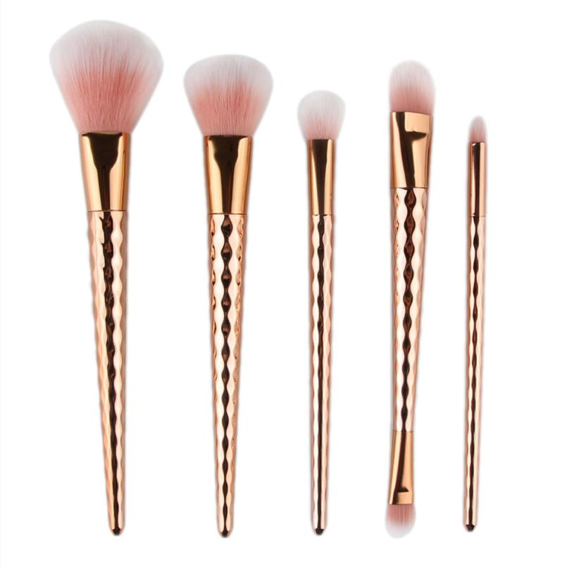 New 5pcs Soft Colorful Gold Makeup Brush Blusher Power Foundation Makeup Beauty Cosmetic Set Tool No fading JU4 drop shipping