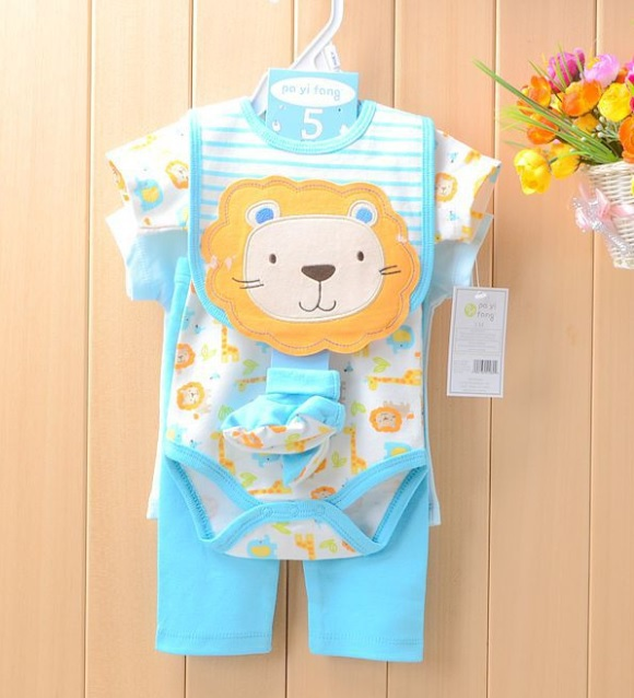 Baby Girls Suits Baby Gear 4pcs Sets Children's Trousers Bibs Sock Rompers HOT SALE