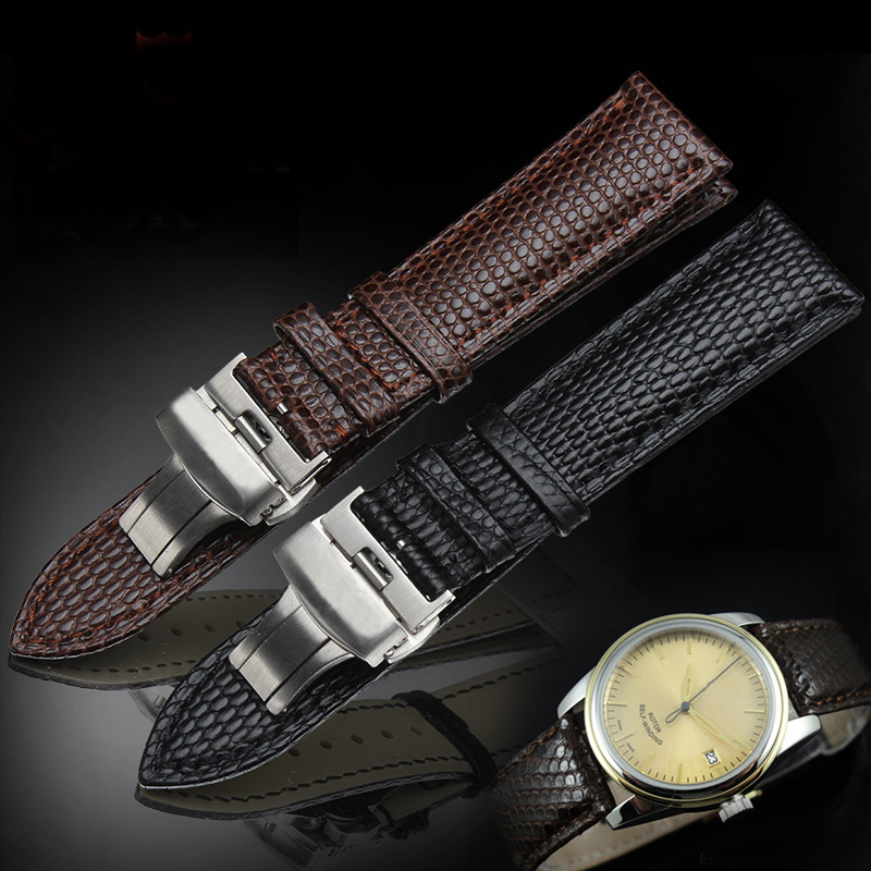 TJP 20mm 22mm Black Brown Genuine Leather Watchband Watch Band Strap Replace Tudor/Montre Maculino Bracelet Clasp With Word women crocodile leather watch strap for vacheron constantin melisa longines men genuine leather bracelet watchband montre