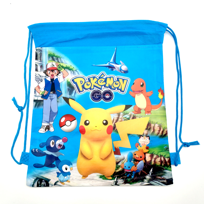 Baby Shower Favors Birthday Party Pokemon Decoration Mochila Drawstring Gifts Bags Pikachu Theme Non-woven Fabric Backpack 1pcs