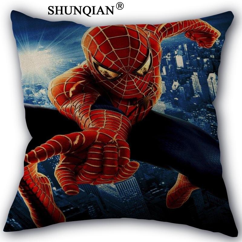 Spiderman Pillowcase Custom Cotton Linen Square Decorative