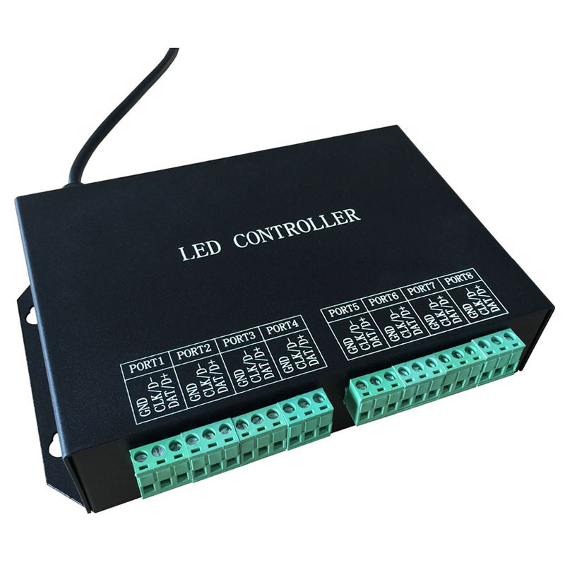 led strip controller,full color programmable,WS2811,WS2812 controller,8 ports drive 8192 pixels,support DMX512,WS2812,etc. t1000s sd card led controller pixel controller for ws2812 b2812b dmx512 ws2811 ws2801 lpd8806 apa102 rgb controller