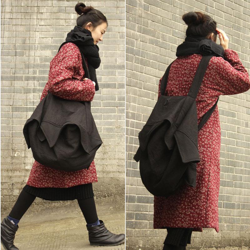 2019 women black Original design unisex black large capacity cotton cloth travel bags shoulder bags cross