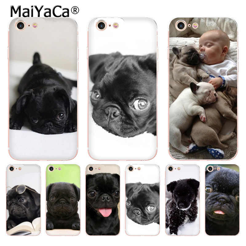 MaiYaCa For iphone 7 6 X Case Black Baby Pug Transparent Cover Case for iPhone 8 7 6 6S Plus X 5 5S SE 5C XS XR Cover