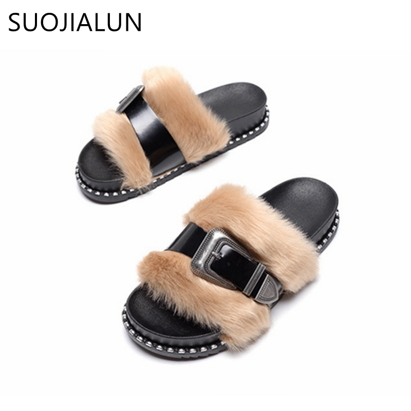 SUOJIALUN 2018 Spring Open Toe Women Slipper Fashion Fur Flip Flops Women Sandals Ladies Flat Slides Female Flat ShoesSUOJIALUN 2018 Spring Open Toe Women Slipper Fashion Fur Flip Flops Women Sandals Ladies Flat Slides Female Flat Shoes