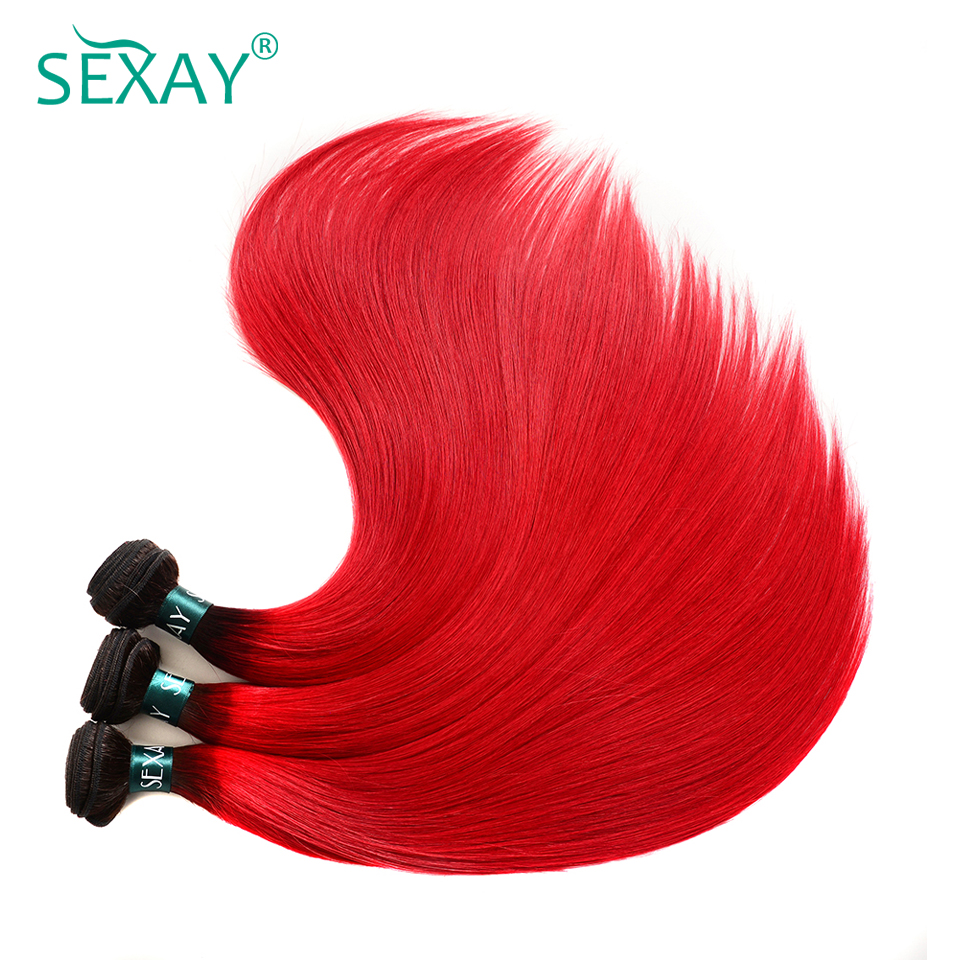 Rapture Sexay Pre-colored Red Ombre Brazilian Human Hair Weave Bundles 3 Pcs T1b/red Dark Roots Straight Ombre Brazilian Hair Bundles Hair Extensions & Wigs