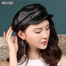 SILOQIN Autumn Winter Genuine Leather Hat Womens Military Hats Flat Cap Solid Color Tongue Trend Women Cowhide