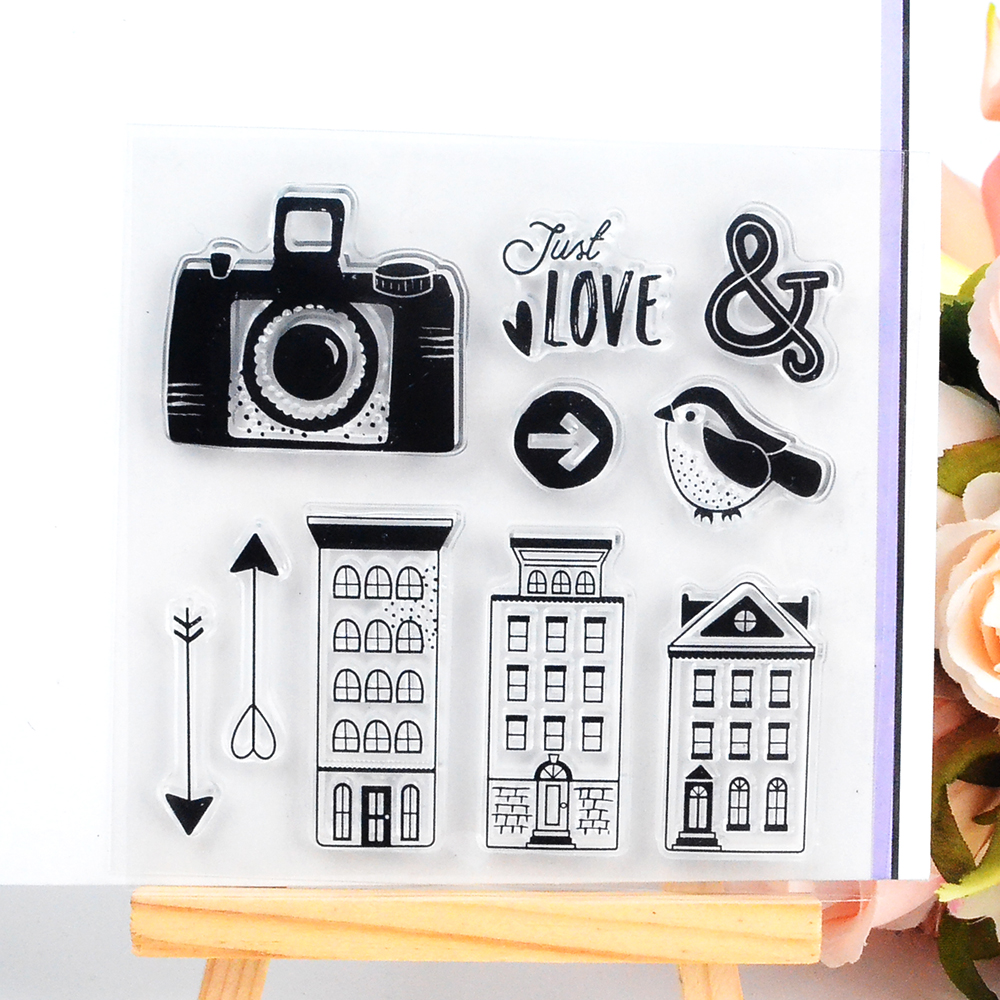 DECORA 1PCS Gift Camera Letter Design Silicone Transparent Clear Stamp DIY Scrapbooking Stamping Christmas Decoration Supplies