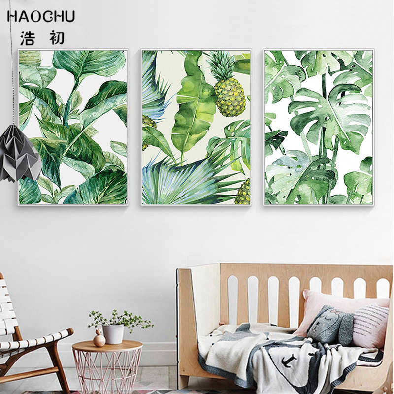 HAOCHU Nordic Poster Hawaii Tropical Forest Tree Art Print Canvas Painting Monstera Leaf Landscape Picture Home Wall Decor