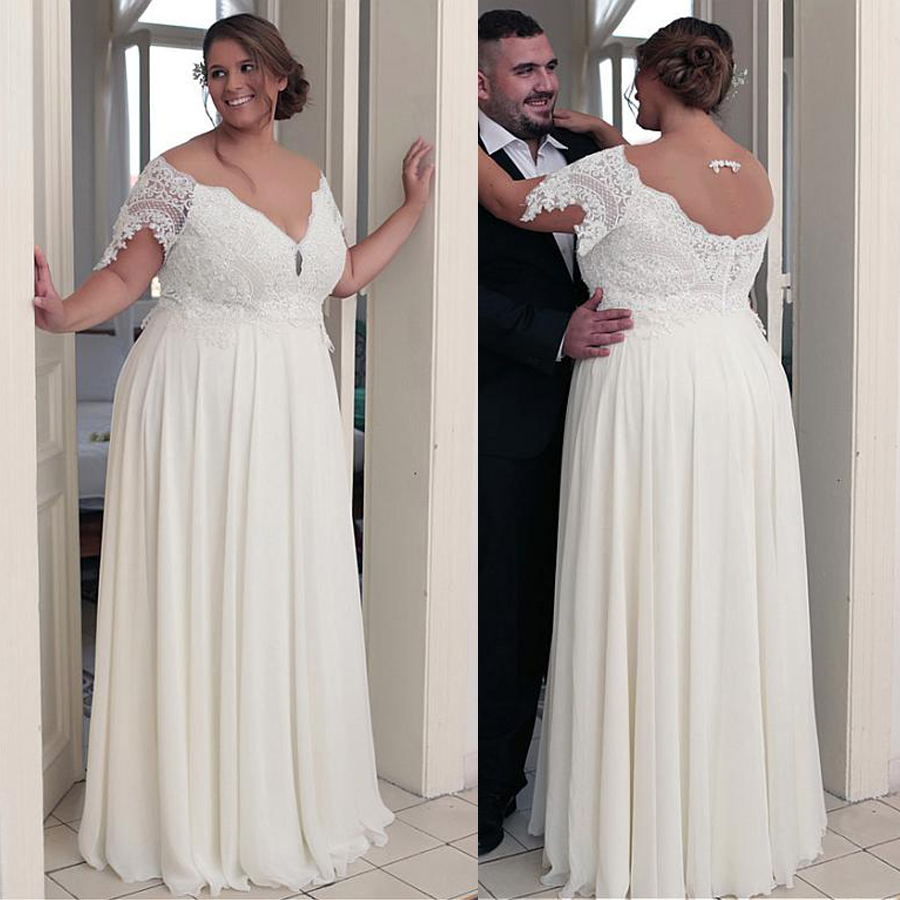 Unique Chiffon Jewel Neckline A-line Plus Size Wedding Dresses With Beaded Lace Appliques Short Sleeves Bridal Gown