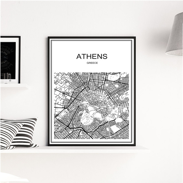 Heisser Verkauf Retro Athen Stadt Weiss Karte Poster Wandkunst