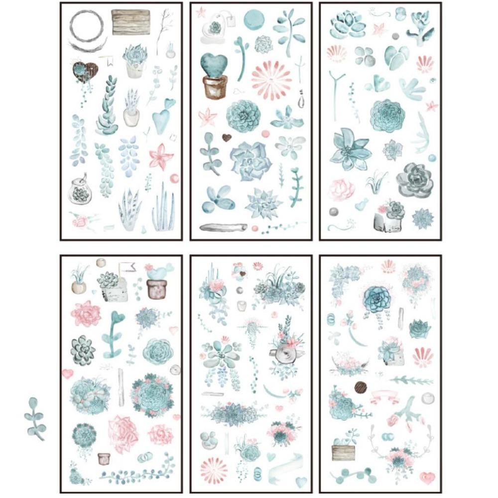 6 pcs/pack Summer Green Succulent Decorative Stationery Stickers Scrapbooking DIY Diary Album Stick Lable fashion leaf pattern decorative front back pvc stickers set for iphone 6 4 7 grass green