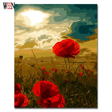 WEEN Red Digital Flower Pictures to draw Painting By Numbers Canvas Art DIY Handpainted Coloring Wall Kit For Living Room Gift printio draw more red