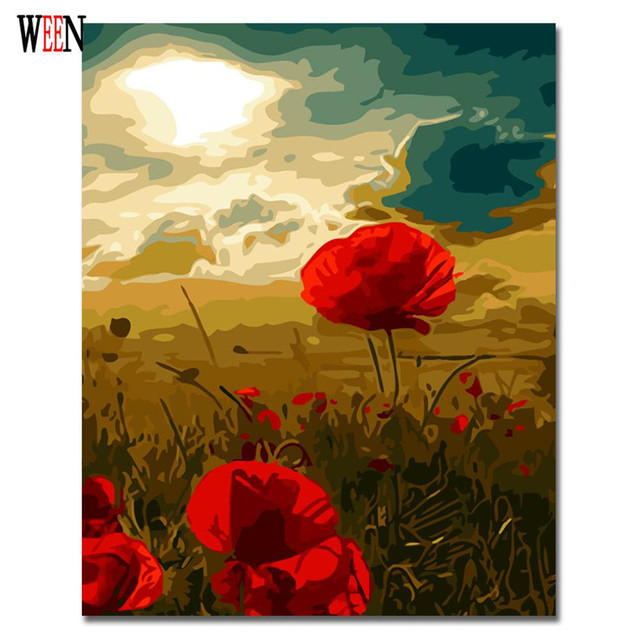 WEEN Red Digital Flower Pictures to draw Painting By Numbers Canvas ...